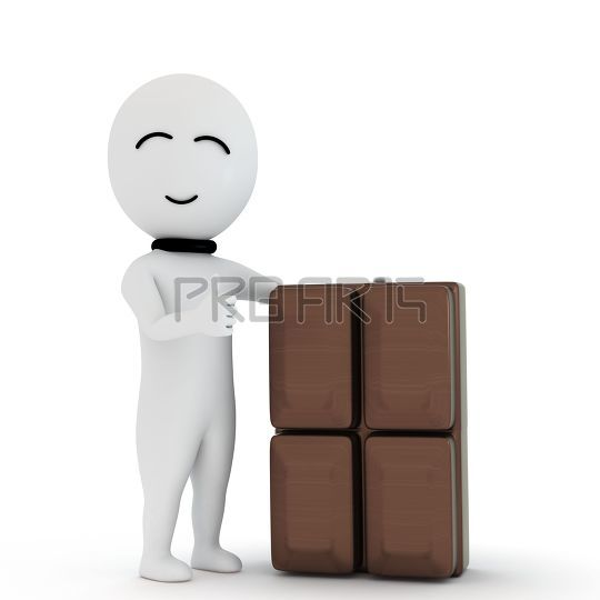 3d small people with chocolate dairy milk