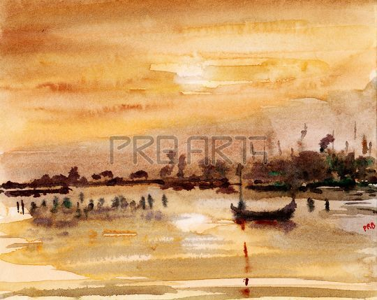 Watercolor painting of boat and sunset landscape scenery