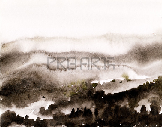 mist and fog in mountains landscape scenery watercolor painting