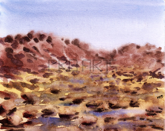watercolor painting mud mountains, rocks, sand and water landscape scenery