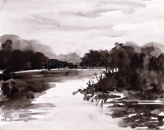 watercolor painting lake nature scenery in black and white color