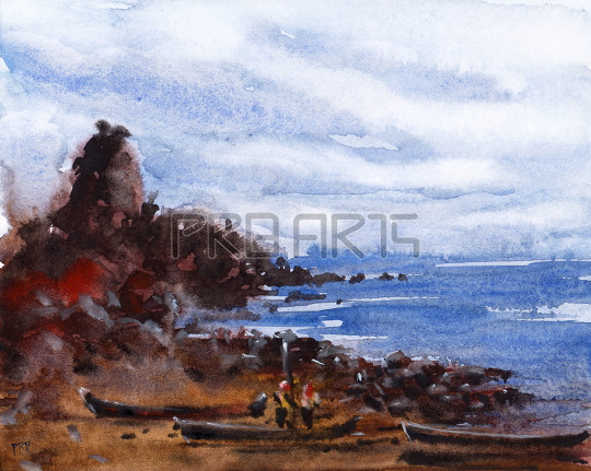 watercolor painting for beginners | seashore view with boats and fisherman
