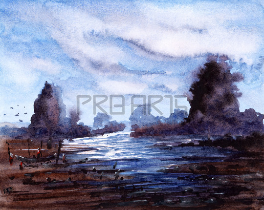 watercolor painting for beginners | big lake | fisher man | boats | rocks