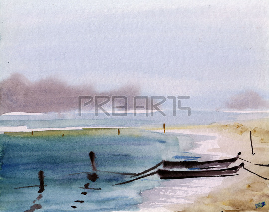 watercolor painting of two boats on sand