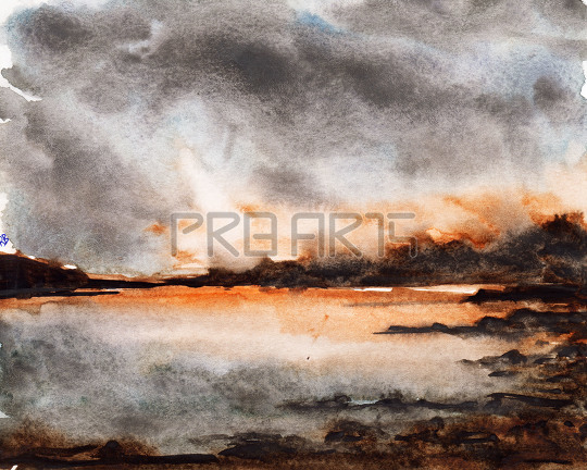 watercolor painting of lake scene with mountains and rocks