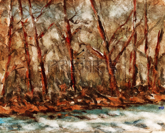 trees in the forest near river watercolor painting