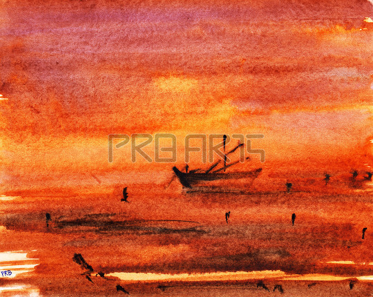 Boat painted with orange and yellow shade background watercolor painting