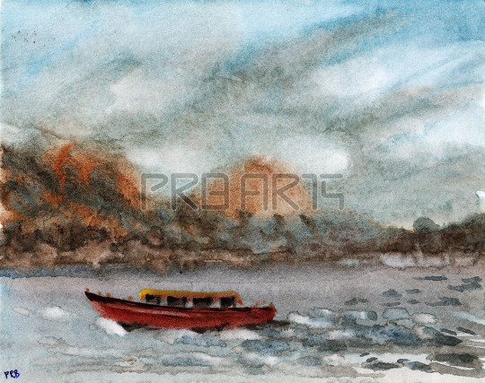 Speed boat watercolor painting