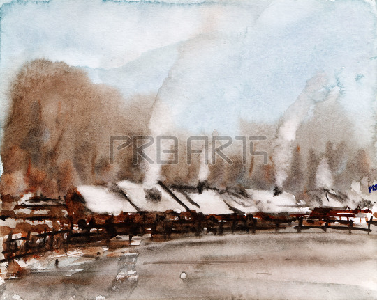 Village in snow place watercolor painting