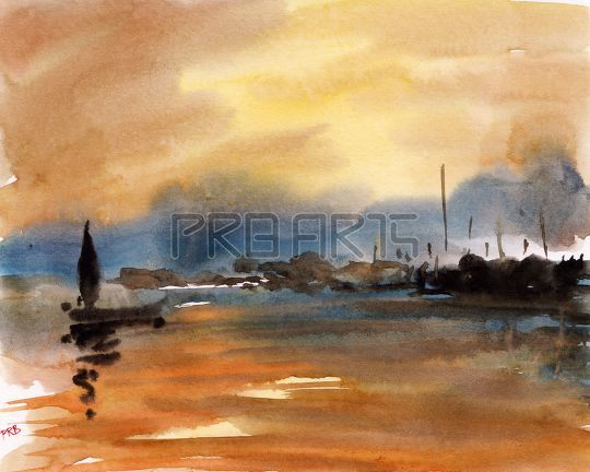 Watercolor painting of fishing boat in lake - sunset scenery